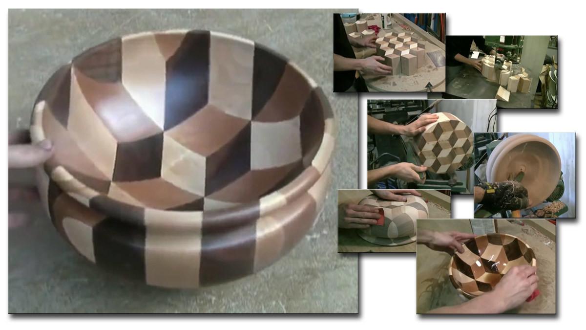 Изделия из дерева. Красивая чаша из нескольких пород древесины.