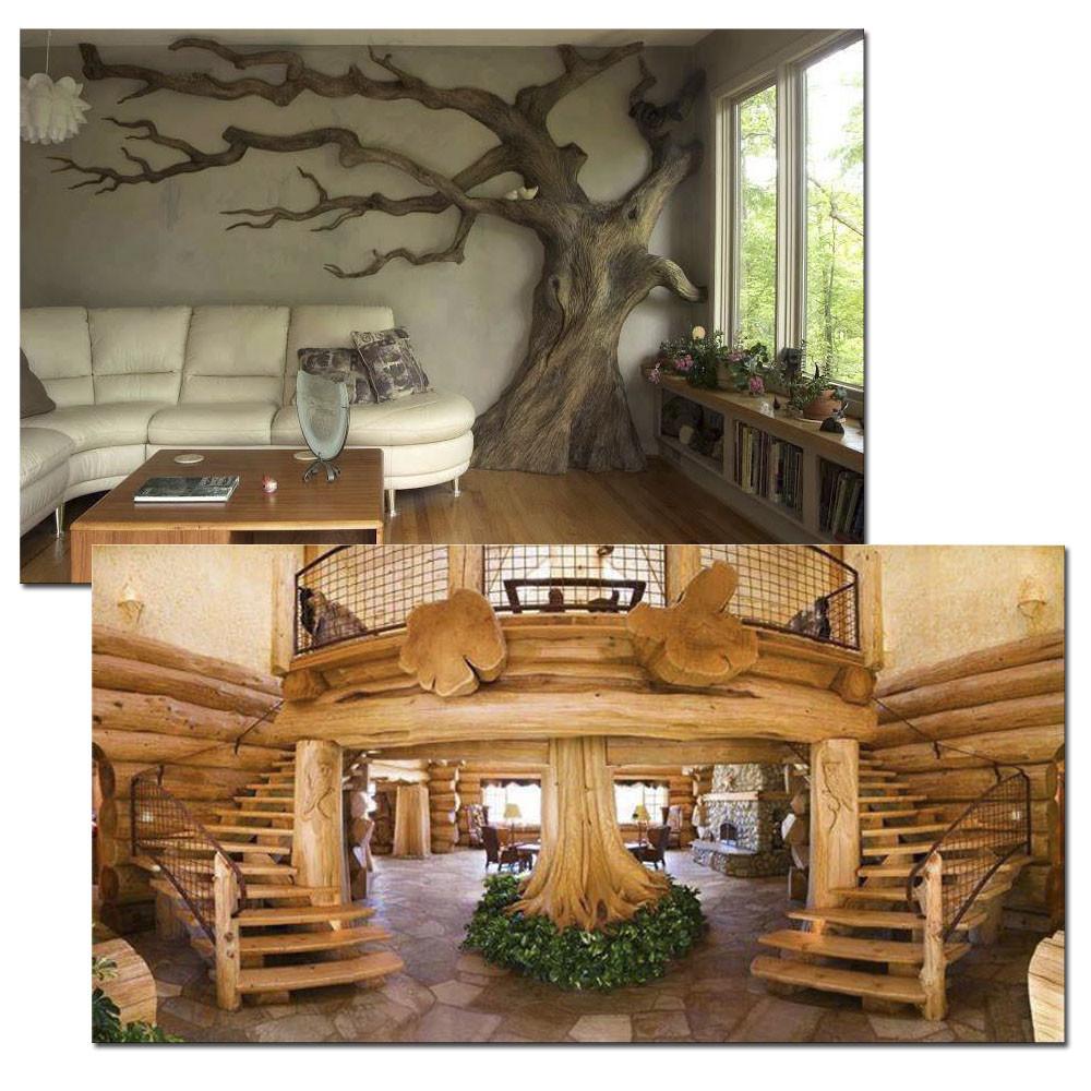 Дизайн интерьера с использованием стволов деревьев