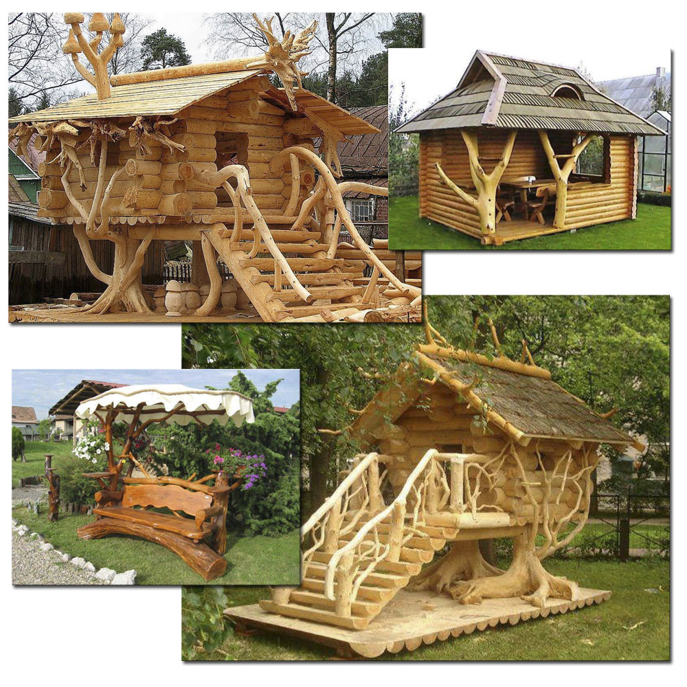 Малые архитектурные формы с использованием стволов деревьев