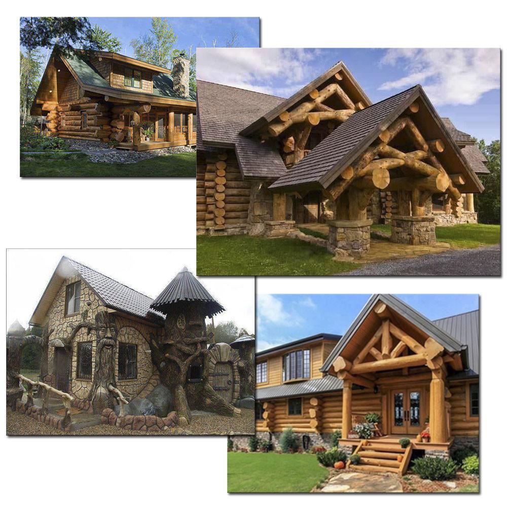 Применение стволов деревьев в дизайне фасадов домов