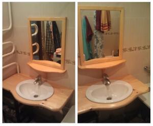 Комплект столешница под раковину и рамка для зеркала