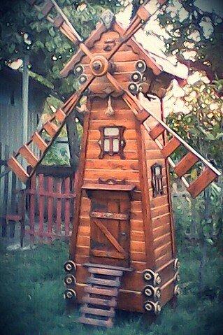 Декоративная мельница из дерева (5)