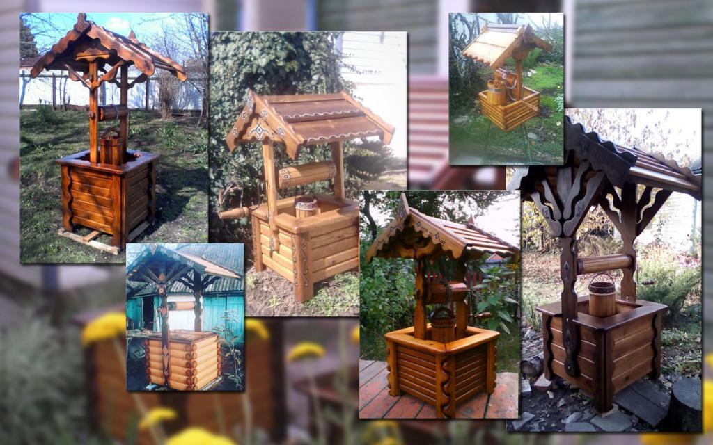 Декоративные колодцы из дерева