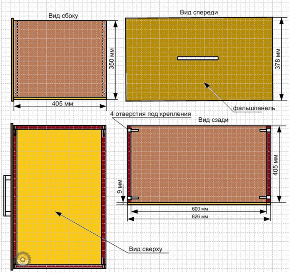Схема среднего ящика