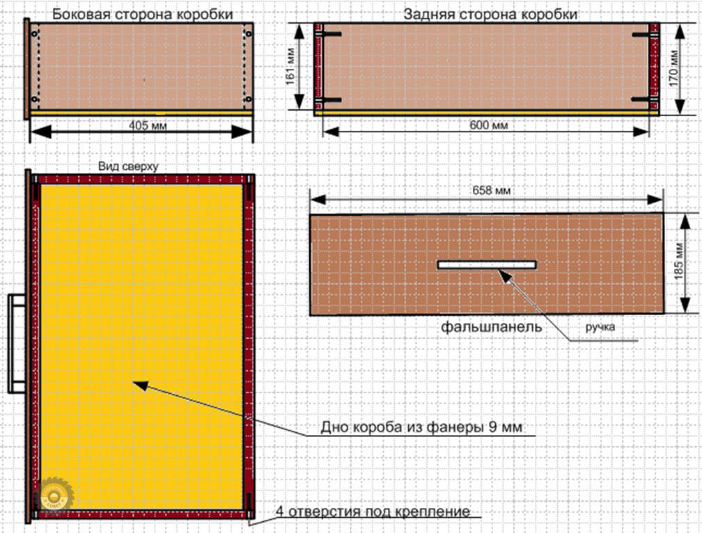 Схема верхнего и нижнего ящиков