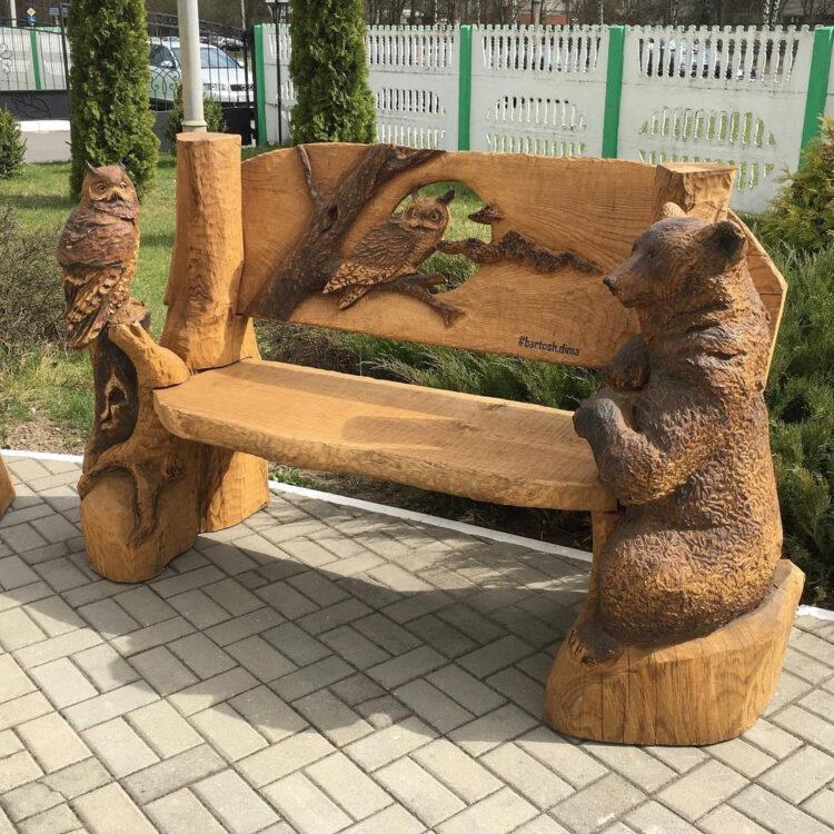 Лавочка с медведем и совами