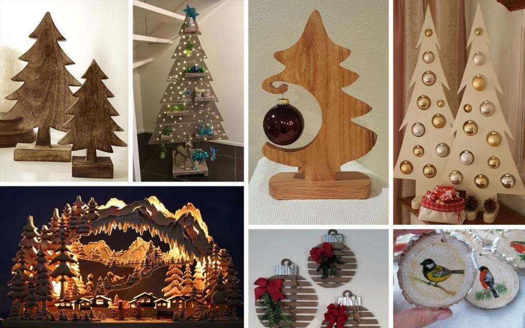 Новогодние украшения из дерева