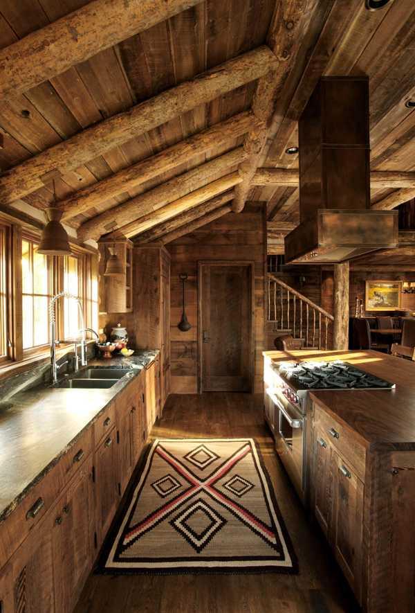 Интерьер в деревянном коттедже в штате Монтана (5)